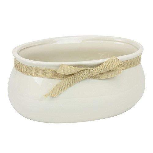 Oblong Sweet Home Decor in ceramica, crema ciotola 23 cm con fiocco