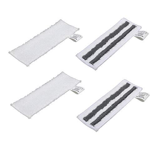 EMEXIN Set di 2 ugelli per pavimenti abrasivi EasyFix + 2 panni in spugna in microfibra per scopa a vapore SC2 SC3 SC4 SC5, spazzola Easyfix per pavimenti con chiusura in velcro, fissaggio semplice
