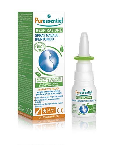 Puressentiel Spray Nasale Ipertonico Bio 15Ml - Dispositivo Medico - Di Origine Vegetale Con Acqua Di Mare E Oli Essenziali Bio - 15 ml