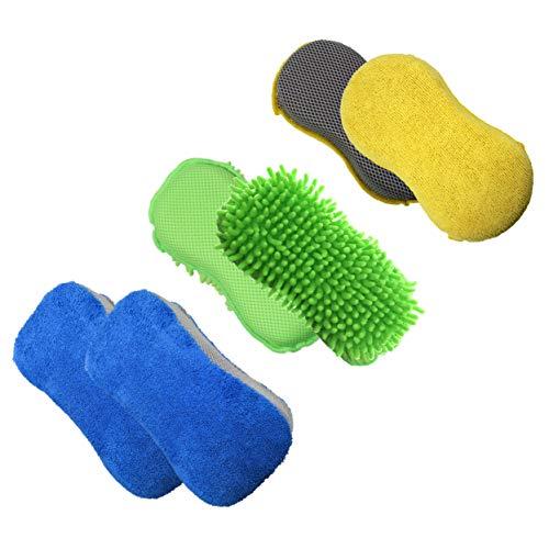 Polyte - Panno in Microfibra AntiGraffio e Spugna - per Pulizia Interni ed Esterni dell'auto - 11 x 23 cm - Set da 3 Pezzi (Blu,Verde,Giallo)