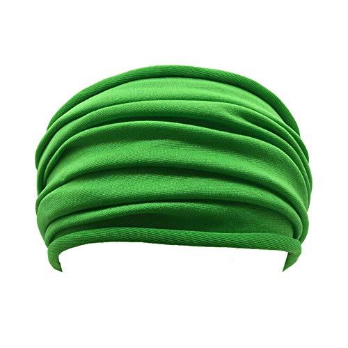 Turbante Cerchietti Fascia per Capelli Donna Le Donne Piegano La Fascia da Yoga Antiscivolo Elastico Elasticizzato Fascia per Capelli Tinta Unita Turbante da Corsa Fascia per Capelli-Verde