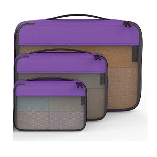 SSLL Packtaschen mit Kompression Packwürfel Gepäck-Organizer Reise Kleidertasche für Rucksack und Koffer Set 3-teiligu,Purple