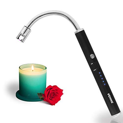 VEHHE Accendino Elettrico,Accendigas USB Ricaricabile,Accendigas Elettrico Cucina Accendino Lungo per Candele leggere Stufe a gas Barbecue da campeggio,Collo Lungo Girevole a 360°
