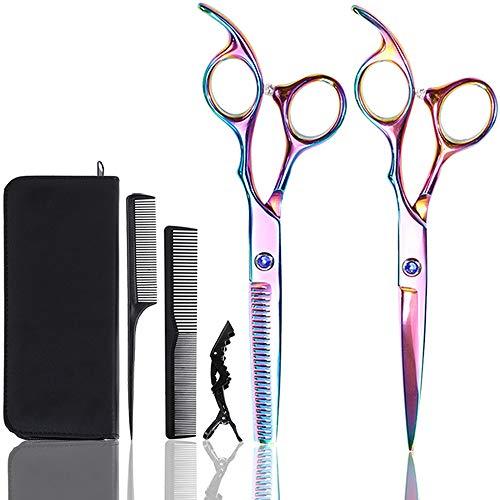 Lictin Forbici Parrucchiere Professionali - Barbiere Parrucchiere Forbici 2 Pezzi 6.0 Pollici + Pettine nero + Pinze Professionali per Capelli