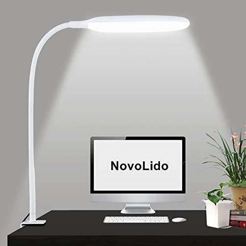 NovoLido - 10W Lampada da Scrivania a LED con Morsetto, Lampada da Tavolo Flessibile a 360° con 3 Modalità di Colore e Regolazione Continua, 3000-10000K, CRI ≥ 90 Protezione Degli Occhi (Bianco)