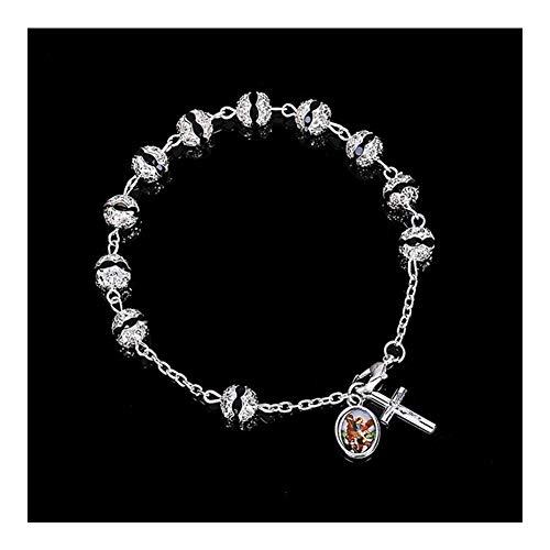 FKJSP Bracciale Nuovo Cristallo Rosario Croce Gesù Croce Catena di Rosario Uomini e Donne Tatuaggi Pendente (Metal Color : 8mm0021)