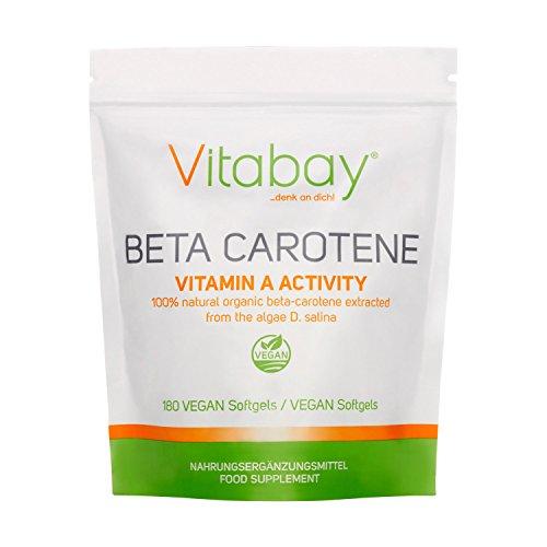 Vitabay Beta Carotene 25.000 UI • 180 Capsule Molli Vegane • Capsule di Beta-Carotene ad Alte Dosi con Provitamina A • Attivatore Abbronzatura Naturale