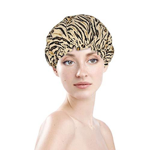 Leopard Print Tiger Texture multiuso morbido elastico cuffia da bagno impermeabile capelli cappucci cofano