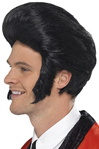 SMIFFYS Smiffy's Parrucca con ciuffo da Elvis Anni '50, Nera, con basette Uomo, Nero, Taglia unica, 42010
