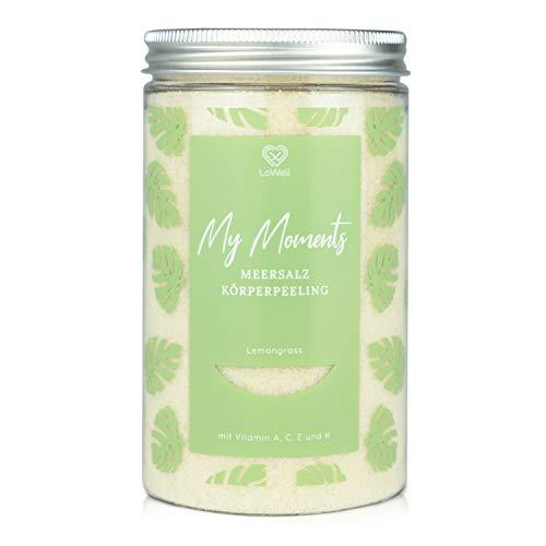 LoWell® Peeling corpo con sale marino 500g - Con olio di jojoba - Intensa esperienza scrub per una pelle tonica - Sale da peeling per doccia e sauna - lemongrass