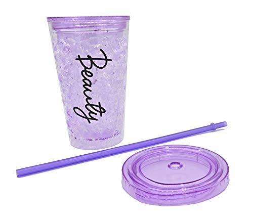 ML Bicchiere da ghiaccio a doppia parete con coperchio e cannuccia (acrilico, riutilizzabile), senza BPA, non necessita di ghiaccio per bevande ghiacciate, colore lilla, 450 ml