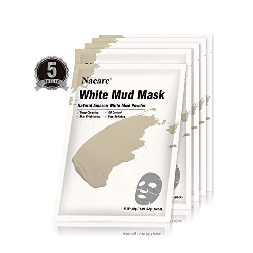Nacare Maschera Facciale Argilla Fango Bianco per la Rimozione dei Punti Neri per il Trattamento dell'acne per la Pulizia Profonda dei Pori 5 Fogli