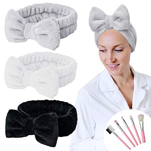 YMHPRIDE Fascia per capelli Spa - 3 pezzi Fascia per capelli con fiocco per ragazze Donne Bella fascia elastica morbida per carol con set di pennelli per il trucco (nero/bianco/grigio)