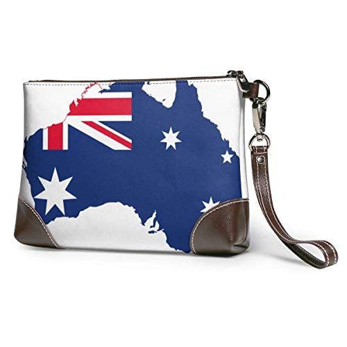 GLGFashion Borse da donna in pelle con pochette Map And Flag Of Australia Travel Toiletry Bag Cosmetic Make up Organizer for Women and Girls
