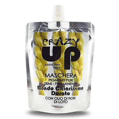 Crazy Up Maschera Colorante Senza Ammoniaca Semipermanente per Capelli - Biondo Chiarissimo Dorato - 200 ml