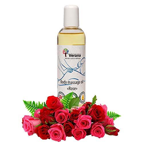 Verana Olio Per Massaggi Rose, Naturale, Senza OGM, Per il Corpo, Tonifica, Nutre e Idrata Anticellulite, Ripristina il Sistema Nervoso, Energizza, Aromaterapia 250ml