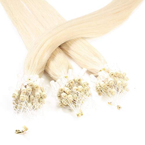 Hair2Heart 50 x 0.5g Microring Loop Extension Capelli Veri - 50cm - Liscio, Colore #60 boindo platino