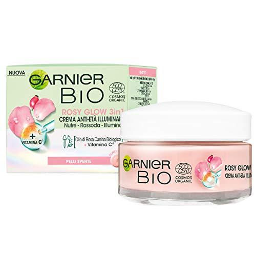 Garnier Bio Rosy Glow, Crema Rosa Idratante 3-in-1, Azione Nutriente, Rassodante e Illuminante, Arricchita con Olio di Rosa Canina Bio e Vitamina C, Formula Vegana, 50 ml
