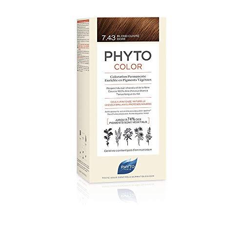 Phyto Phytocolor 7.43 Biondo Ramato Dorato Colorazione Permanente senza Ammoniaca, 100 % Copertura Capelli Bianchi