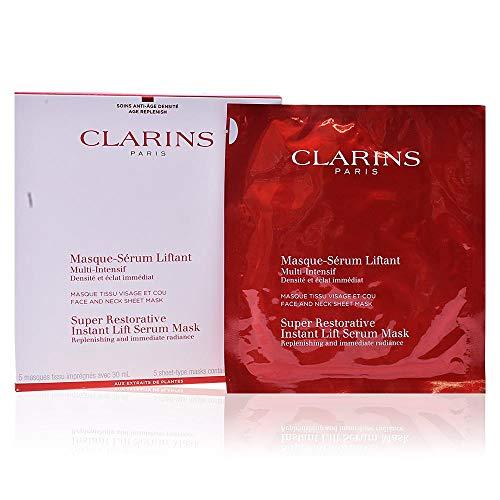 Clarins Super Restorative Instant Lift Serum Maschere in Tessuto, 5 Pezzi