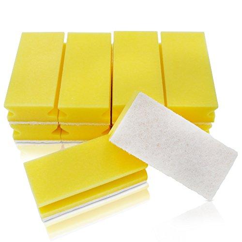 awiwa - Spugna XXL da cucina e da bagno (non causa graffi, facile da impugnare, lavabile in lavatrice, 10 pezzi) giallo-bianco