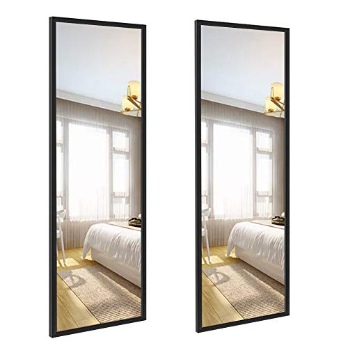 Amazon Brand - Eono, Specchio Rettangolare da Parete 35,6 x 122 cm per Decorare la casa, Cornice Nera, Set da 2