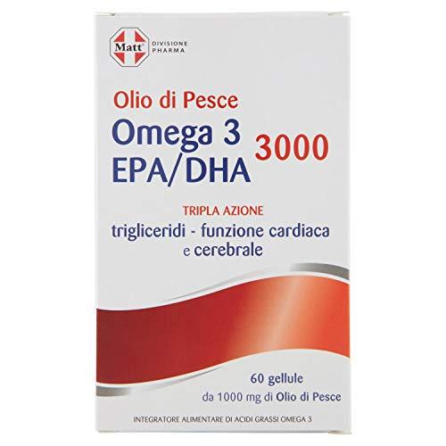 Matt Divisione Pharma, Omega 3 Epa/Dha 3000, Integratore Alimentare di Olio di Pesce per Controllo Trigliceridi e Pressione Sanguigna, 76g