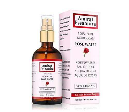 Tonico Viso Acqua di Rose - Fatto a Mano, Biologico Puro al 100% Organico per Viso, Corpo e Capelli - In un flacone di vetro ambra da 100 ml con spray - Prodotto in Maroccon