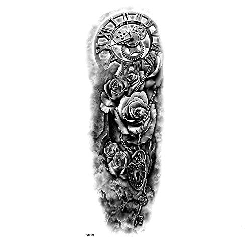 ZJF Blocco Orologio Meccanico Braccio Pieno Impermeabile Tatuaggio temporaneo a Braccio Tatuaggio Tatuaggio Tatuaggio Finto Tattoo men1pc