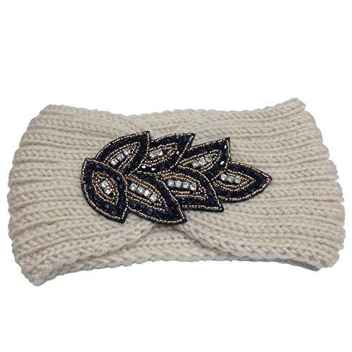 Tininna Cerchietto, fascia per capelli in lana, lavorata a maglia, turbante elastico, copri orecchie, fascia a turbante da donna/ragazza, bianco, Taglia unica