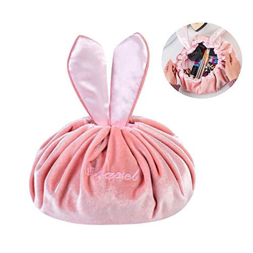 Portable Lazy Coulisse Sacchetto Cosmetico, PTN Grande Capacità Lazy Trucco Trousse, Borsa da Toilette da Viaggio Grande Portatile per le Donne Ragazza (Rosa)
