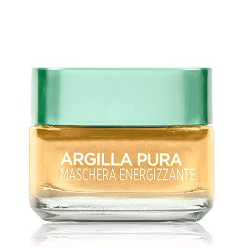 L'Oréal Paris Detergenza Maschera per il Viso Argilla Pura Energizzante con Limone di Yuzu, Uniforma e Illumina la Pelle, 50 ml