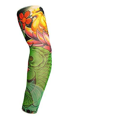 qkwsx Manicotto Protettivo di Pesca del Gel del Tatuaggio del Braccio del Fiore del Manicotto della Protezione Solare di Seta di 1 accoppiamento all'aperto Uomini e Donne Manica di Pesca Cg301