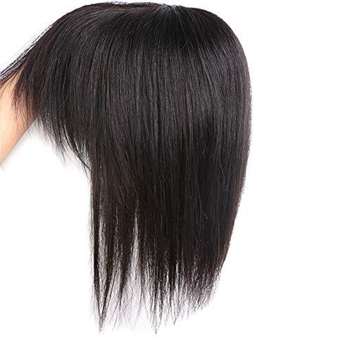 Fermaglio per capelli veri umani con frangetta, parrucca da donna per diradamento dei capelli (20,3 cm di colore nero)