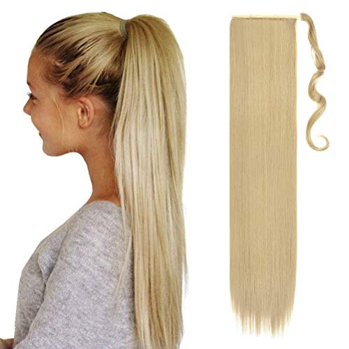 80cm Coda di Cavallo Clip in Hair Extension Capelli Lisci Parrucchino Ponytail Wrap around Estensioni Naturale Lungo Biondo cenere