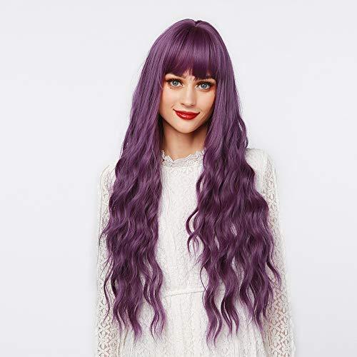 MEIRIYFA Parrucca lunga riccio viola parrucca con capelli ricci lunghi parrucca cosplay da donna, sintetica parrucca complete -viola-65cm