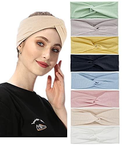 Confezione da 8 fasce turbanti per le donne con testa larga annodata elastica adolescenti ragazze yoga allenamento tinta unita accessori per capelli