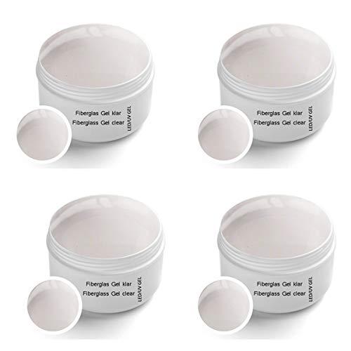 4 x 30 ml UV Fibreglass Clear transparente - Linea Premium Gel - finitura, corporatura, adesivo – Top Coat – Monofase Gel