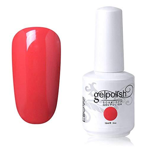 Elite99 Smalto Semipermente per Unghie in Gel UV LED Smalti per Unghie Soak Off per Manicure Rosso Arancio 15ML - 1590