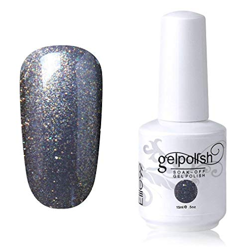 Elite99 Smalto Semipermente per Unghie in Gel UV LED Smalti per Unghie Soak Off per Manicure Argento 15ML - 1428