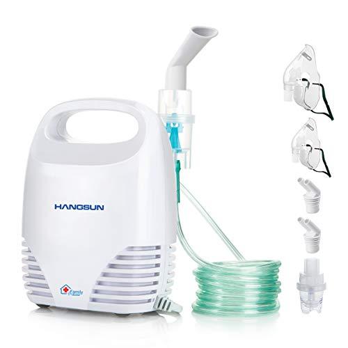 Hangsun Aerosol a Ultrasuoni Inalatore Portatile Nebulizzatore per Bambini e Adulti,Adatto a tutti i medicinali liquidi,Bianco, 19 X 14 X 9 cm