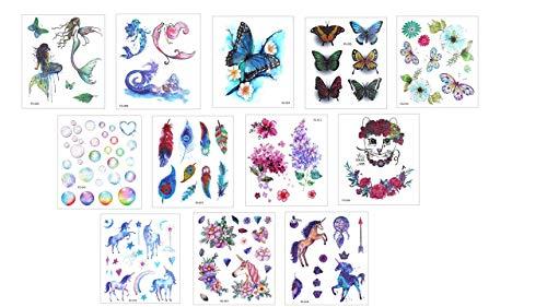 4fogli Tatuaggi Temporanei Nero segno zodiacale e più set yc3