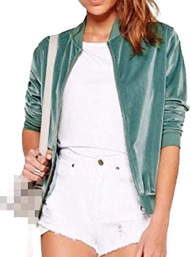 Womens Stand Collar Casual Loose Zipper Velvet Bomber Long Sleeve Fashion Classic Jacket Coats Tops