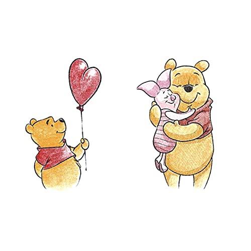 5 fogli dipinti a mano simpatico orsetto con palloncini cartone animato piccolo orsetto e maialino piccoli adesivi tatuaggio fresco