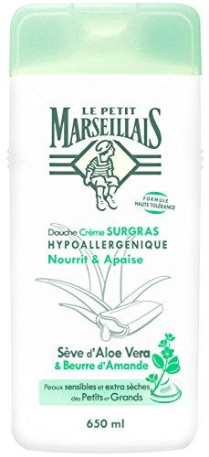 Le Petit Marseillais - Bagnoschiuma cremoso ipoallergenico arricchito di lipidi, con linfa di aloe vera e burro di mandorle, confezione da 650ml