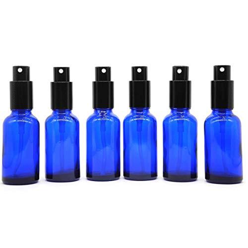 Yizhao Blu Bottiglie Spray Vetro 30 ml, con Vaporizzatore Fine e Spruzzatore Pompa di Metallo, per Profumo, Aromaterapia,Olio Essenziale - 6 Pcs