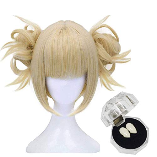 FVCENT Parrucca Cosplay Anime Full Bang Bionda Corta con 2 Clip Buns staccabili