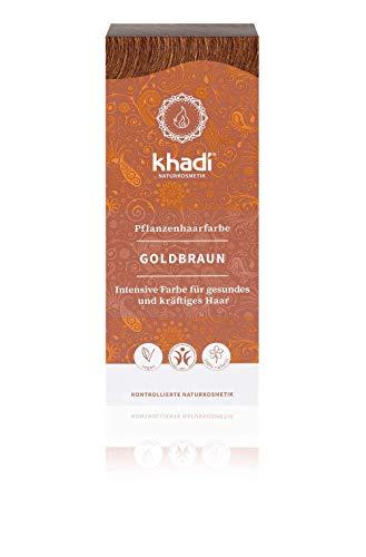 Khadi - Tinta vegetale per capelli: marrone dorato, 100 g, per una chioma dal colore marrone lucido e dorato, naturale, 100% vegetale