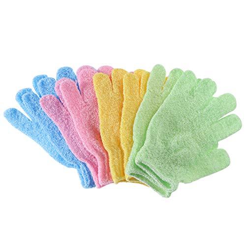 Supvox Guanti da doccia Guanti da bagno esfolianti per il bagno Impugnatura per il corpo in nylon Esfoliante 4 pezzi