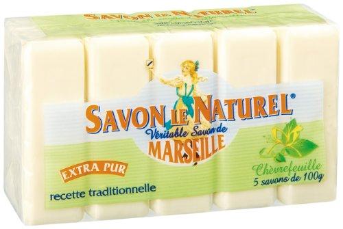 Sapone il naturale–vértiable Sapone di Marsiglia Extra Puro al caprifoglio x5–100g